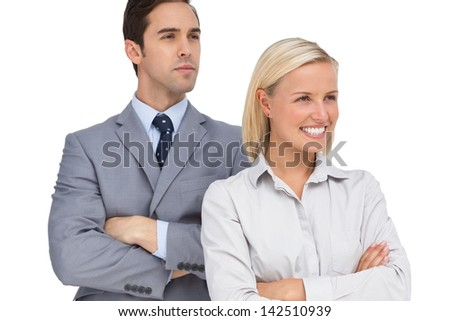 Colleagues looking at the same way on white background - stock photo
