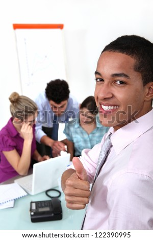 Colleagues working together on a project - stock photo