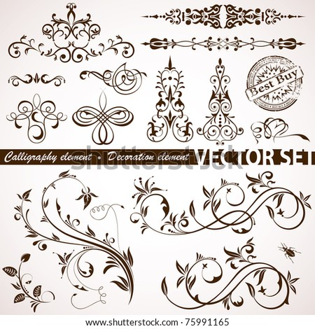 Collect Calligraphic and Floral element for design, illustration - stock photo