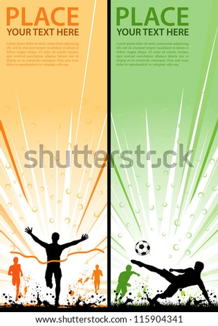 Collect grunge sport flyer with Soccer Player and Winner Man, element for design, illustration - stock photo