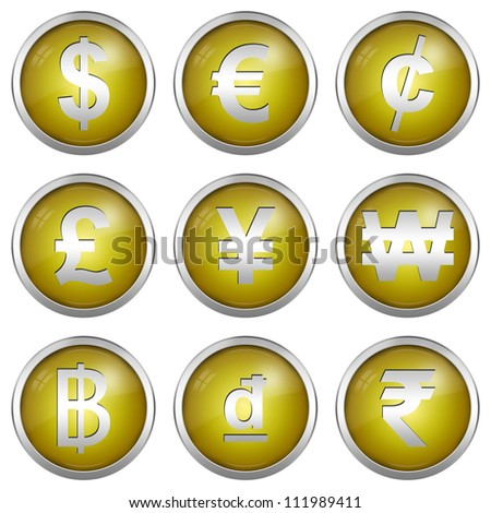 Collect Of Circle Yellow Icon With Silver Border Plate For Currency Symbols Isolated on White Background - stock photo