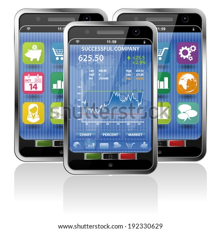 Collect Smartphones with Stock Market Application and various Icons - stock photo