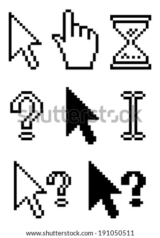 Collect Standard Pixel Cursors, element for design, illustration