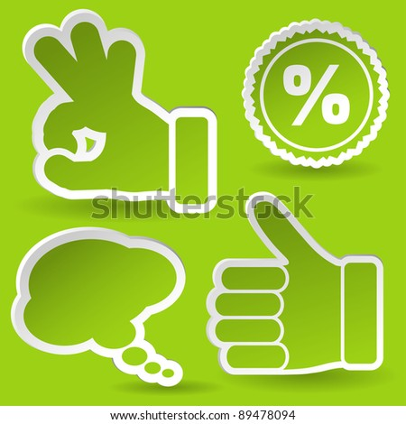 Collect Sticker with Hand, Speech Bubble and Stamp Icon, element for design, raster version