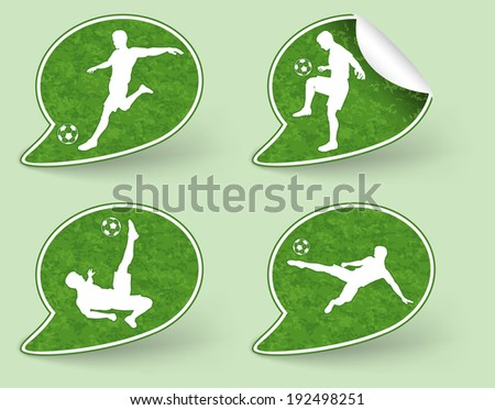Collect Sticker with Silhouettes of Soccer Players in various Poses with the Ball, illustration