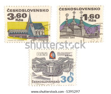 Collectible stamps from Czechoslovakia. Set with old churches and modern BVV center in Brno. - stock photo