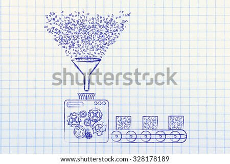 collecting and transforming data: funny illustration with factory machines processing binary code - stock photo