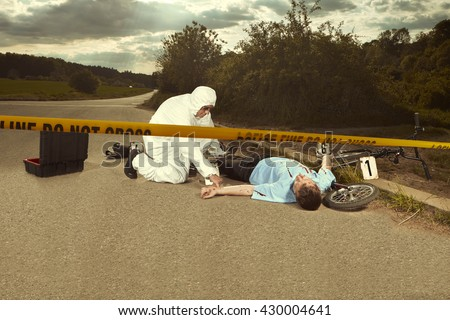 Collecting of evidences on place of accident - stock photo