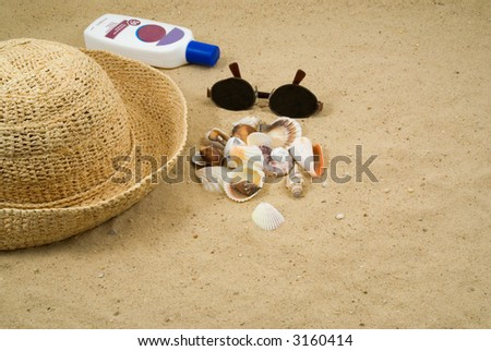 Collecting Shells on the Beach.  Seashells, Straw Hat, Sun Glasses, Sun Block on a Sandy Beach - stock photo