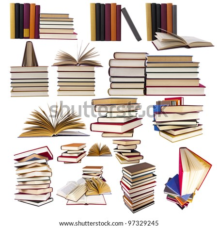collection and set of books - stock photo