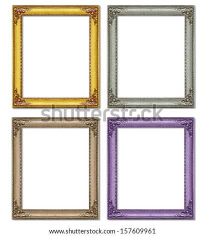 Collection antique frame isolated on white background - stock photo