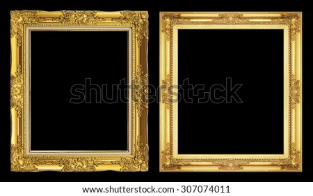 collection 2 antique golden frame isolated on black background, clipping path. - stock photo