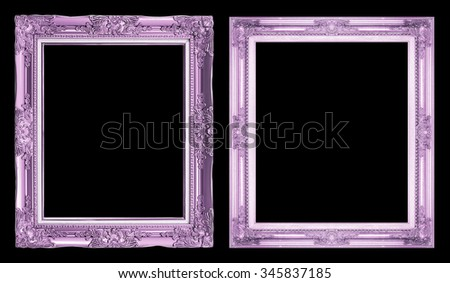collection 2 antique purple frame isolated on black background, clipping path. - stock photo