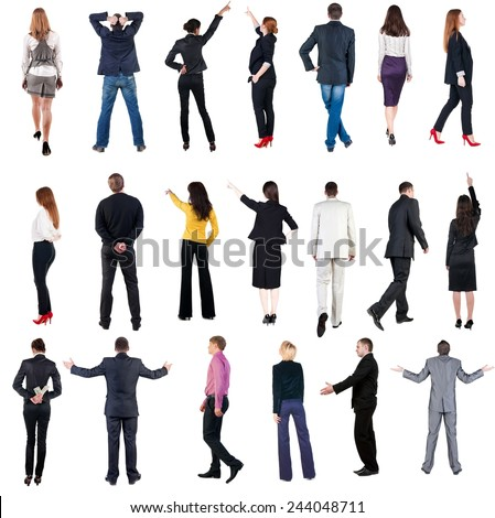"collection ""Back view of  business people"". Rear view people set. backside view of person. Isolated over white background.  - stock photo"