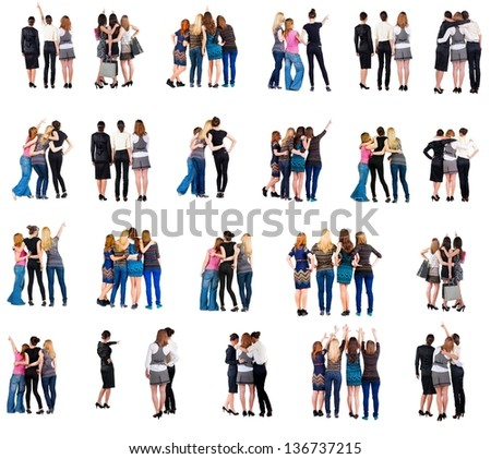 "collection "" Back view of group people"".  set "" Rear view person "" . Women in team. Isolated over white."