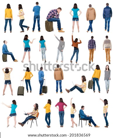 "collection "" back view of people "". backside view of person.  Rear view people collection. Isolated over white background. - stock photo"