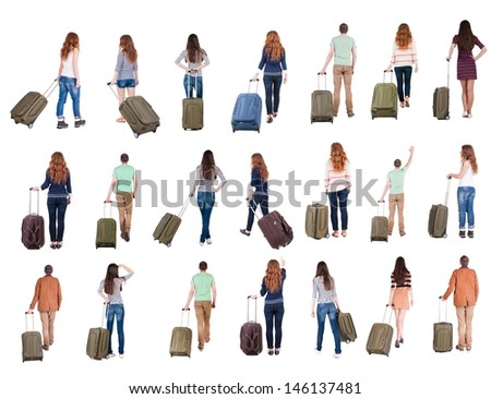 "collection "" Back view of  people with suitcase "". backside view of person.  Rear view people collection. Isolated over white background. - stock photo"