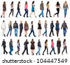 "collection "" back view of walking people "". going people in motion set.  backside view of person.  Rear view people collection. Isolated over white background. - stock photo"