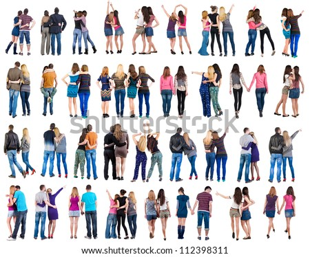 "Collection "" Back view of young  couple "" (man and woman).  beautiful friendly girl and guy together. Rear view people set.  backside view of person.  Isolated over white background. - stock photo"