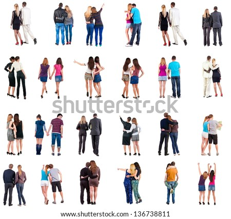 "Collection ""Back view of young couple"".  Rear view people collection.  backside view of person.  Isolated over white background. Set ""happy people together"""