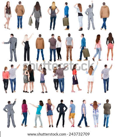 "Collection "" Back view people "".  Rear view people set.  backside view of person.  Isolated over white background . - stock photo"