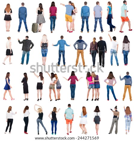 "Collection "" Back view people "".  Rear view people set.  backside view of person.  Isolated over white background ."