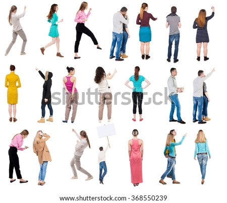 """Collection """" Back view people """".  Rear view people set.  backside view of person.  Isolated over white background. - stock photo"""