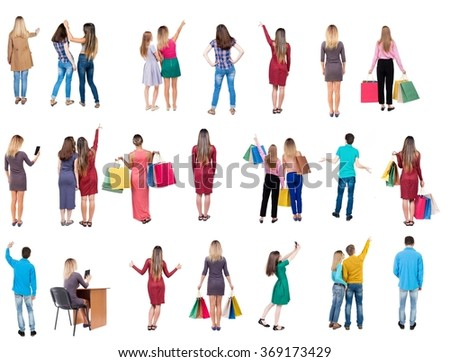 "Collection "" Back view people "".  Rear view people set.  backside view of person.  Isolated over white background."