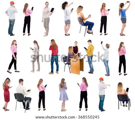 "Collection "" Back view people use smartphones and tablets. "".  Rear view people set.  backside view of person.  Isolated over white background"