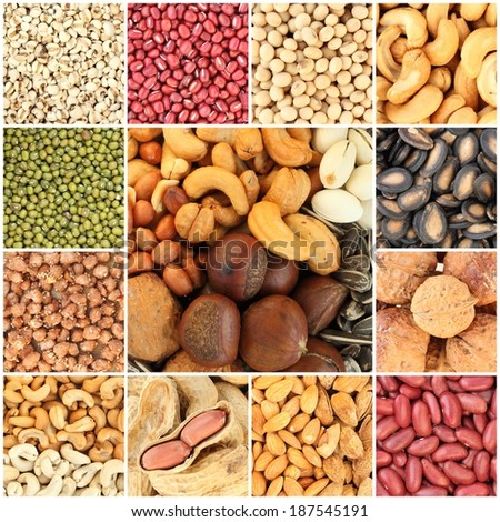 collection beans and seeds background