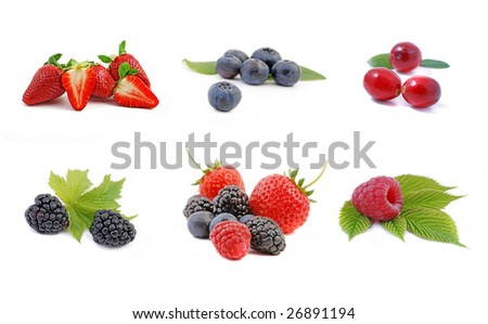 collection berry fruits isolated on white background