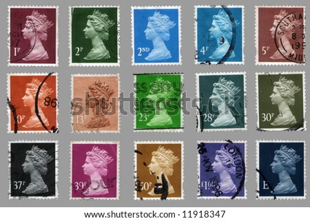 collection british postage stamps with great britain queen portrait - stock photo
