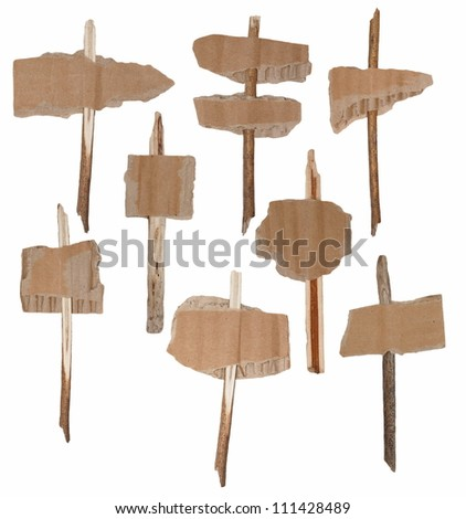 Collection cardboard scraps and branches, navigation arrow stickers isolated on white background - stock photo