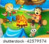 Collection cartoon personage. Camping. Sweetheart. - stock photo