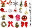Collection Christmas decoration  isolated on white background - stock photo