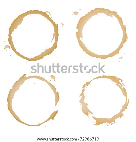 Collection Coffee Stain, Isolated On White Background