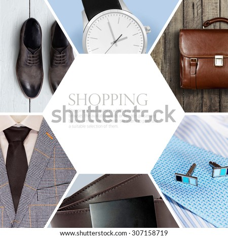 collection collage of men's clothing - stock photo