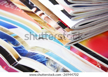 collection colorful magazines