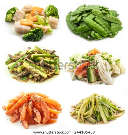 collection cooked vegetables dishes isolated on white background - stock photo