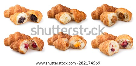 collection croissants on a white background - stock photo