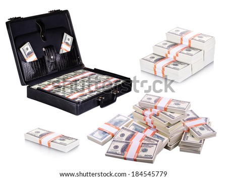 Collection dollars isolated on a white background - stock photo