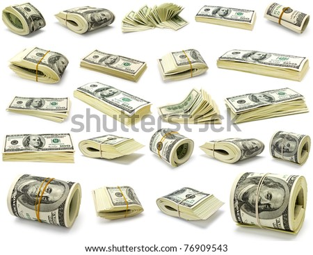 Collection dollars isolated on white background - stock photo