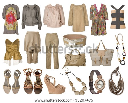 collection dress and clothes - stock photo