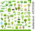 Collection Eco Design Elements, Isolated On White Background - stock photo