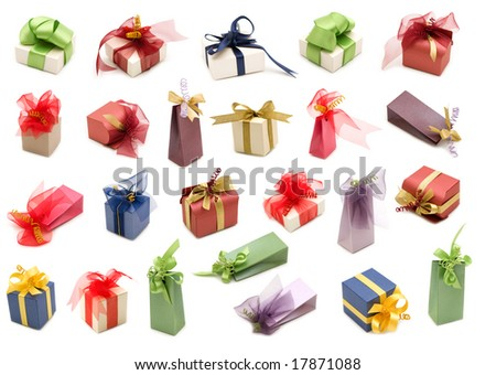 collection fancy gift boxes on white background