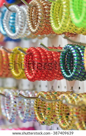 Collection fashionable multicolored bracelets - stock photo
