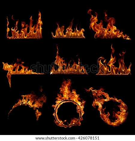 Collection Fire flames - stock photo