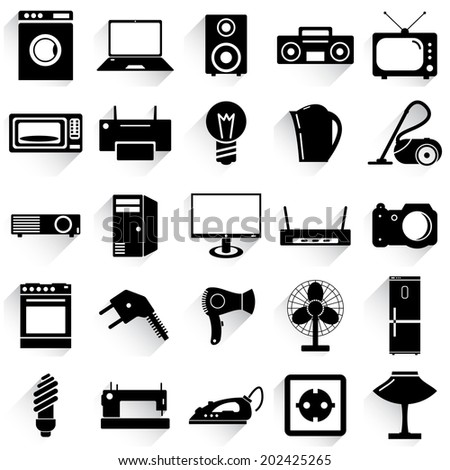 Collection flat icons with long shadow. Electrical devices symbols.  illustration. - stock photo
