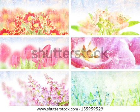 collection flowers Grunge background vintage abstract rusty colored background