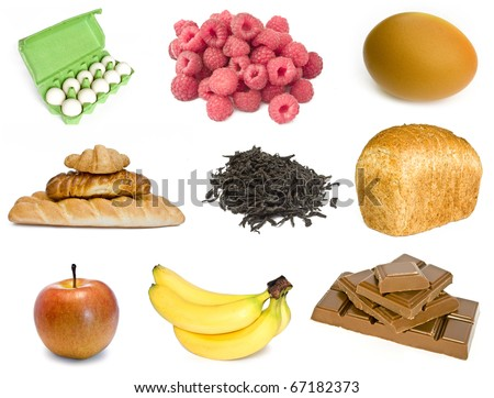 collection food isolated on white background